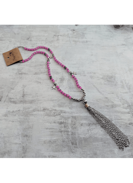 Collar cascada rosa
