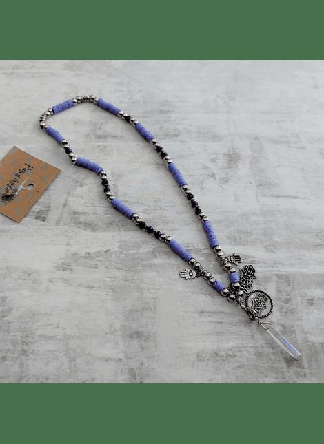 Collar amuleto lila hamsa