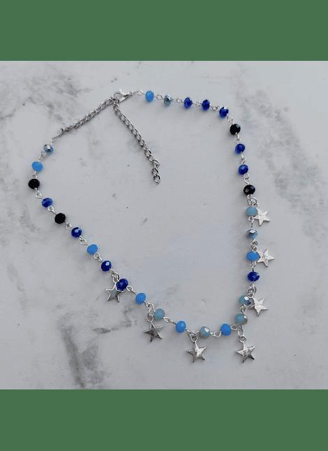 collar choker cristal azul plateado