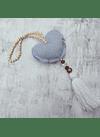 Mini manillero corazon jeans crema