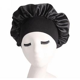 Gorra de Satín Negra con cintillo