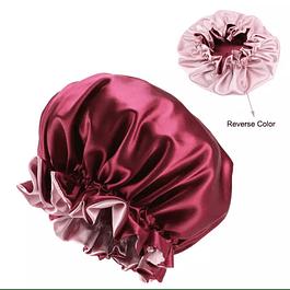 Gorra de Satín Reversible Rojo - Rosado