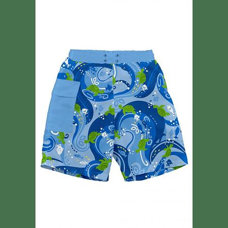 Traje De Baño Short Con Pañal Azul Tortuga Iplay