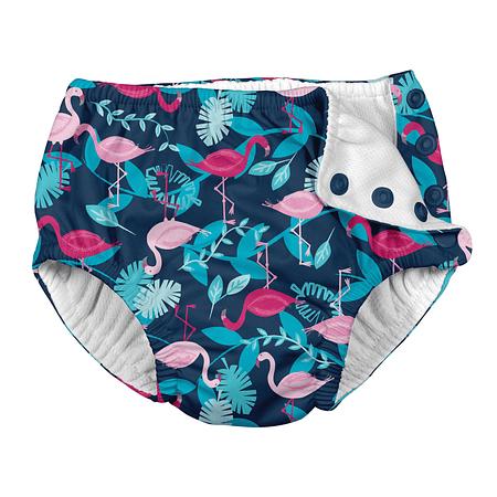 Traje De Baño Con Pañal Reusable Zunga Azul Flamingos Iplay