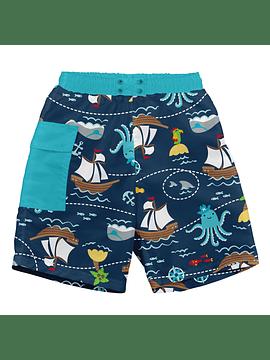 Traje De Baño Con Pañal Short Azul Pirata