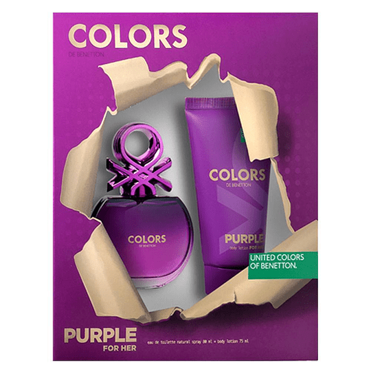 Colors Purple para mujer / SET - 80 ml Eau De Toilette Spray