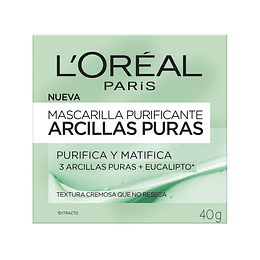 Mascarilla Purificante Arcillas Puras 40 Gr L'Oréal Paris