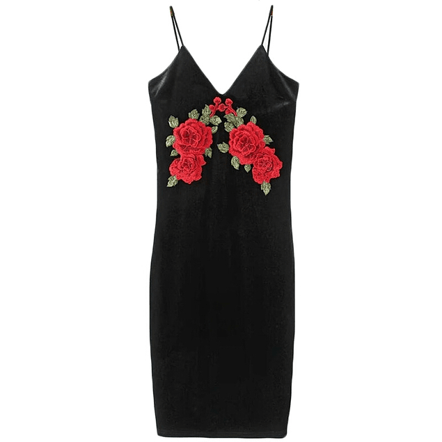 Aplique Roses Velvet Dress