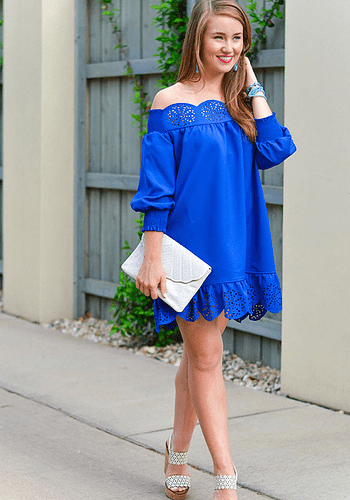 Blue Lasercut Off Shoulder Dress