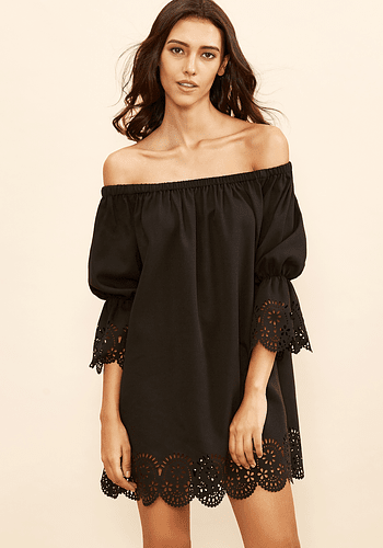 Black Lasercut Off Shoulder Dress
