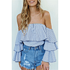 Ruffle Sleeves Striped Top