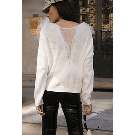 White Tulle Sweater