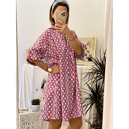 Pattern Fuchsia Oversize Dress