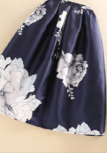 Paeonies Blue Midi Skirt