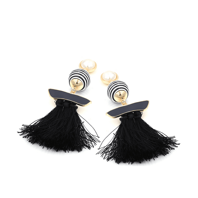 Stripped Pearls Black Tassel Earrings