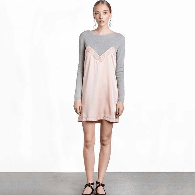 Grey Pink Blouse Dress