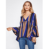 Striped Uneven Hem Top