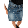 Denim Skirt With Pearls
