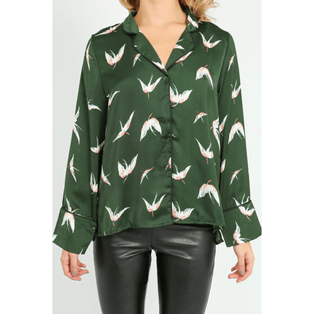 Green Crane Birds Shirt