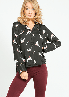 Black Crane Birds Shirt