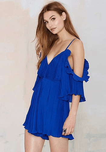 Blue Piano Pleated Overall