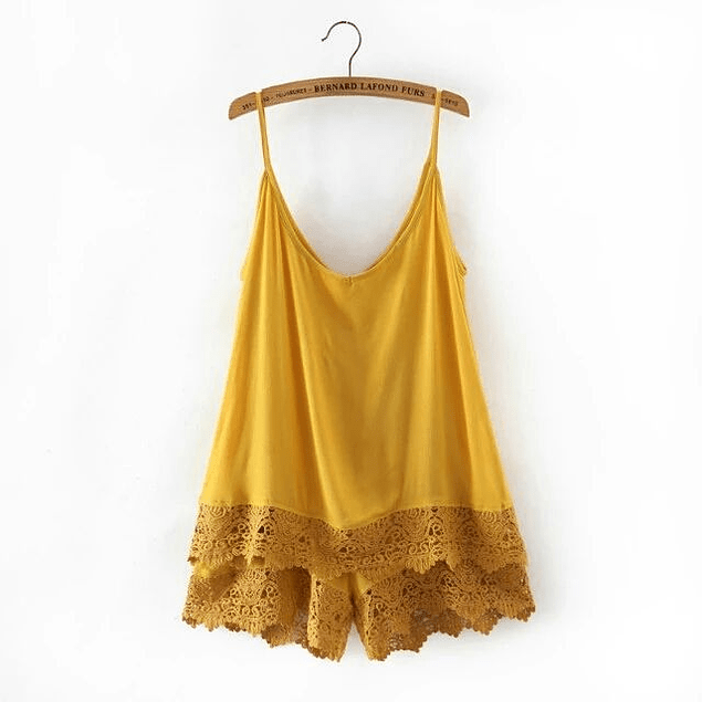 Boho Playsuit With Lace Details