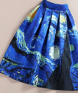 Starry Night Inspired Midi Skirt
