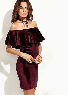 Wine Red Spanish Bodycon Dress