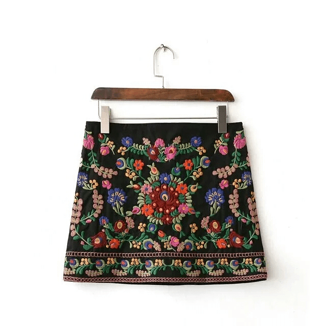 Embroidery Mini Floral Skirt