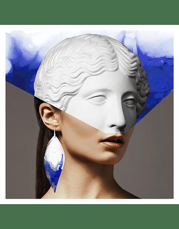 Pluma Acuarela. Blanco Azul