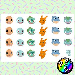 Lámina de Stickers 214 Pokemon Gen 1