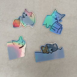 Set de Stickers Gato Memes Holográficos