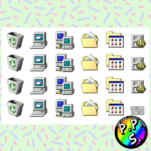 Lámina de Stickers 247 Iconos Windows 95
