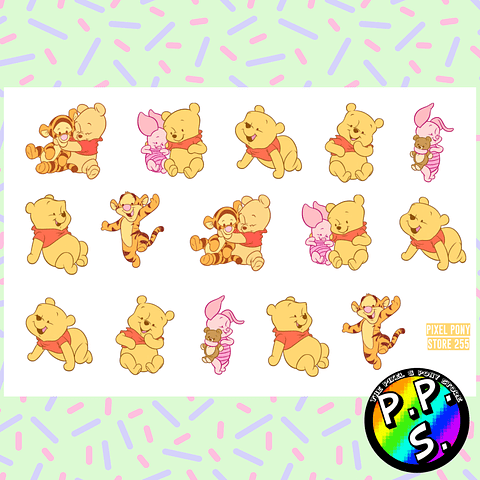 Lámina de Stickers 255 Baby Winnie the Pooh