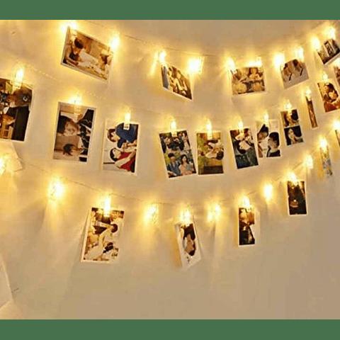 Guirnalda De Luz Led Clips Perritos Para 10 Fotos