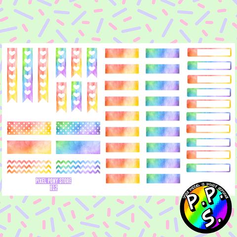 Lámina de Stickers 12 Deco Arcoiris
