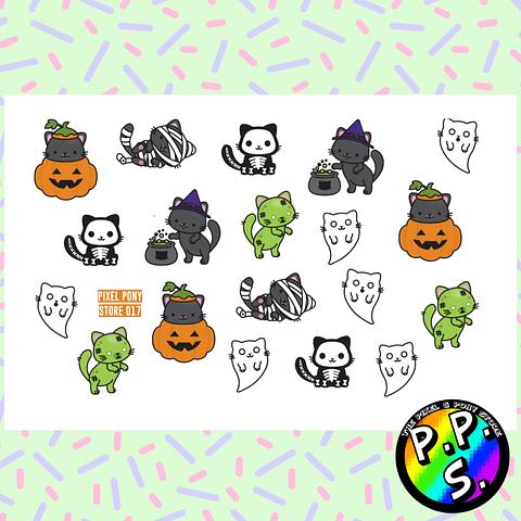 Lámina de Stickers 17 Gatos Halloween