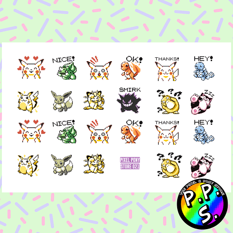 Lámina de Stickers 21 Pokemon Gameboy