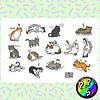 Lámina de Stickers 27 Gatos Siendo Gatos