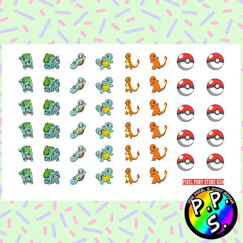 Lámina de Stickers 34 Pokemon Starters