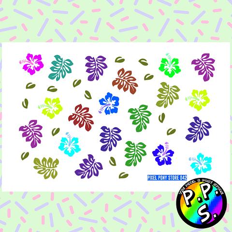 Lámina de Stickers 42 Hibisco Colores