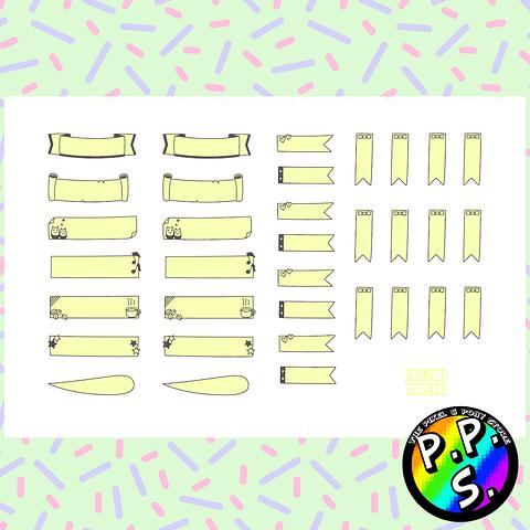 Lámina de Stickers 45 Títulos y Banderas Amarillo