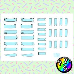 Lámina de Stickers 46 Títulos y Banderas Celeste