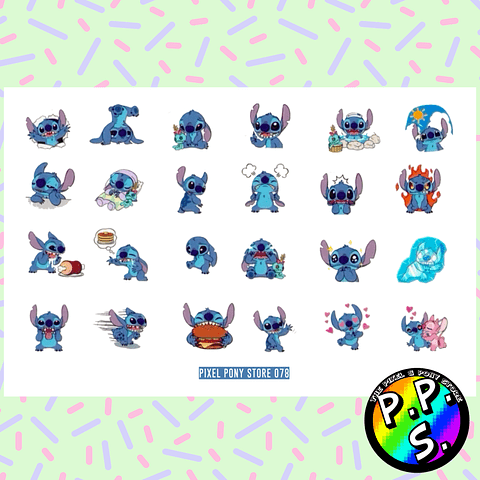 Lámina de Stickers 78 Stitch