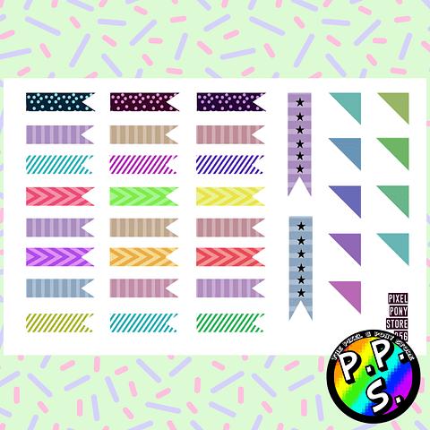 Lámina de Stickers 56 Banderines