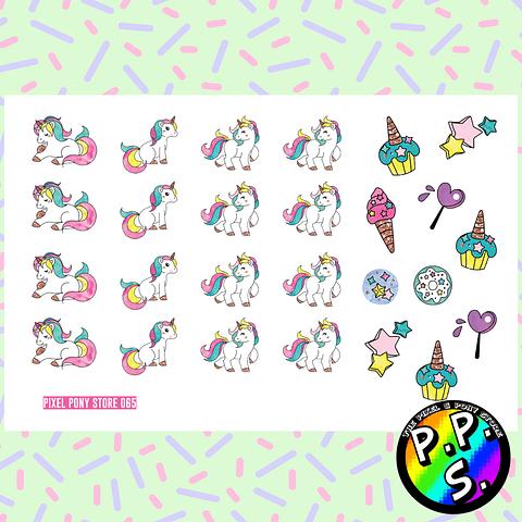 Lámina de Stickers 65 Unicornio