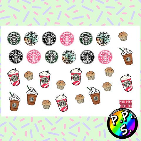 Lámina de Stickers 85 Starbucks