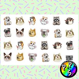 Lámina de Stickers 108 Animales Meme