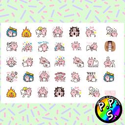 Lámina de Stickers 116 Conejo Rosado