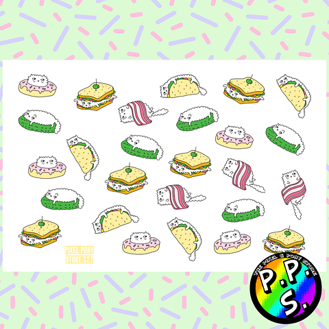 Lámina de Stickers 127 Gatos Sandwich